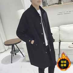 Autumn and winter plus men's windbreaker windbreaker long Korean fashion lovers coat, self-cultivation students coat handsome BF wind 3XL (about 190-210 pounds can be worn) Black velvet