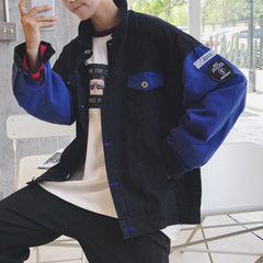 Korean jeans jacket, trendy men's jacket, autumn clothes, spring and autumn baseball wear, winter sweethearts XL blue
