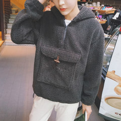 The winter wind Harajuku man coat Hooded Sweater thickened BF Korean students wind tide loose and long sleeve clothes lovers XL Dark grey