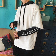 Two men fall off in the spring and autumn sweater hooded head set trend of Korean student couples dress coat Long Sleeved autumn S white