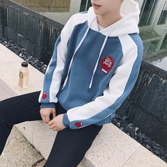 The winter with cashmere sweater Mens hooded long sleeved turtleneck loose trend of Korean students ulzzang lovers coat 3XL blue