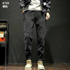 Male pants loose 2017 autumn winter new trend of Korean students all-match corduroy pants Haren leisure small footlights 3XL K728- black