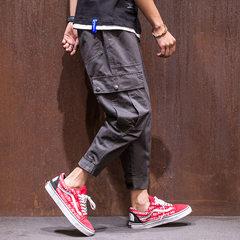 MRXXX Japanese Harajuku pocket Haren pants men autumn color all-match loose pants eight student pants 3XL Coffee color (pictured color)