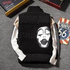 2017 new winter warm cotton sleeveless vest jacket men size vest loose Kanjian Mens Korean tide 3XL black