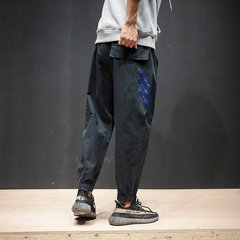 Male pants trend of Korean new fall 2017 loose tooling pants students all-match leisure pants upon Haren 3XL GZ02 black