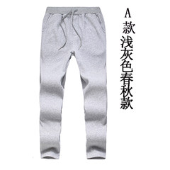 Sports pants men fall casual pants slim fit pants feet Haren winter velvet trousers with thick warm pants. L (30-31 code) A light grey spring and Autumn