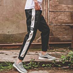 Autumn Japanese striped ankle banded pants pants men sport thin Korean casual pants closing nine pants pants men tide 3XL black