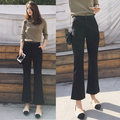 2017 new winter Korean high waisted flared trouser thin trousers, female nine pants Wide Leg Pants Black casual L Black velvet