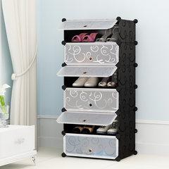 简易鞋柜塑料 多层鞋架经济型家用防尘实木不锈钢多功能收纳柜子 单排6层黑花