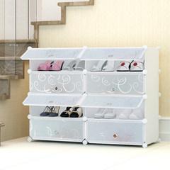 简易鞋柜塑料 多层鞋架经济型家用防尘实木不锈钢多功能收纳柜子 纯白白花门2排4层