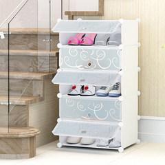 简易鞋柜塑料 多层鞋架经济型家用防尘实木不锈钢多功能收纳柜子 纯白白花门单排5层