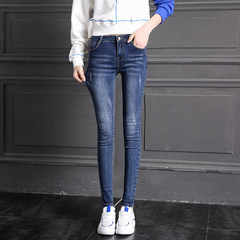 High waist jeans and cashmere trousers female in autumn and winter 2017 Korean thickened slim slim jeans stretch size 25 (1 feet 8) Dark blue 9101