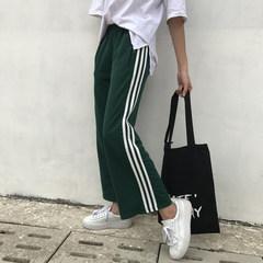 2017 Hitz wide leg pants loose straight stripes three bar leisure pants nine tide pants female trousers M Blackish green