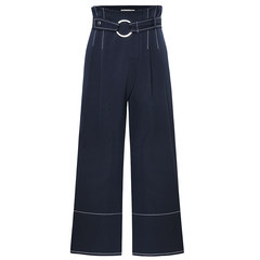 MG elephant Waist Wide Leg Pants female fall 2017 new loose Hong Kong flavor chic wind straight nine casual pants tide XS Tibet Navy