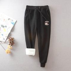 Autumn and winter lamb cashmere pants size plus cashmere sport pants pants trousers show thin pants Haren Wei 3XL Little bear embroidery black