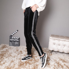 Europe 2017 new winter women's fashion show thin gold hot side all-match Velvet Pants feet thick casual pants 3XL IOU