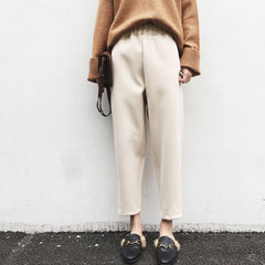 In the autumn of 2017 new Korean female winter wool pants feet radish Haren pants nine all-match loose pants S Beige