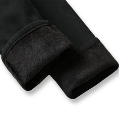 2017 new winter with high waisted skinny jeans female cashmere thickened fluffy feet warm pants trousers 31 yards (early buy, more favorable) Black Cashmere