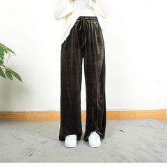 Velvet velvet trousers wide leg pants female autumn Korean version of the New Retro casual pants elastic waist pants loose mop F Deep green