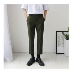 Male shop and Korean black skinny slim casual pants nine British suit small straight jeans M Army green