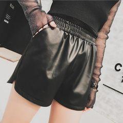 2017 new winter PU high waisted leather shorts female Korean elastic slim slim big yards wear wide leg pants boots pants 3XL black