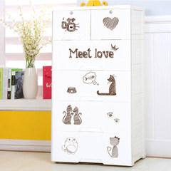 加厚抽屉式收纳柜五层宝宝塑料婴儿童储物柜衣柜简易鞋柜五斗柜子 彩妃猫咪贴纸纯白色 门吸(一对2个)