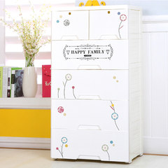 Thickening drawer type storage cabinet, five layers of baby plastic baby baby locker, wardrobe simple shoe cabinet, five bucket cabinet The color of pure white floral Princess stickers Gate (one to 2)