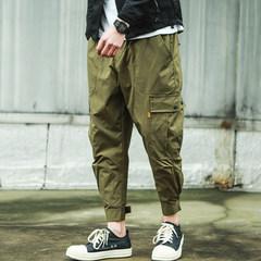 Male tide brand Shawn Yue overalls loose cashmere pocket nine feet pants pants pants feet hip hop Haren 3XL Green trousers