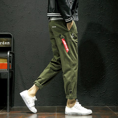 Male pants pants fall upon Haren pants trend of Korean Japanese sweatpants students all-match casual pants 3XL Army green