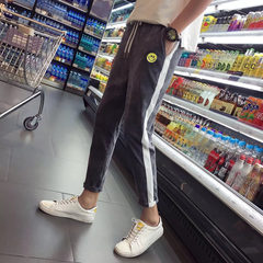 Red Net BF Harajuku wind pants men nine feet - slim trend of Korean embroidery with Reds 9 pants S English embroidery grey
