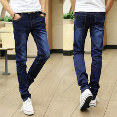 Jeans for men and women in autumn and winter, pants for men, winter stretch for men, winter pants for tight pants 31 yards Blue monkey