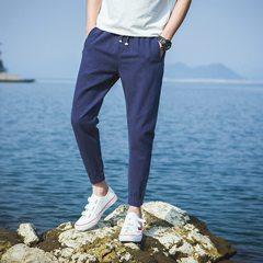 Men's trousers summer autumn new youth Mianma Korean student Haren feet movement nine linen slacks M (28-29) Tibet Navy