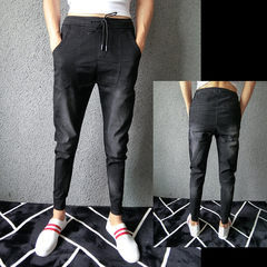 The fall of social spiritual guy slim pants Metrosexual microejection tights casual jeans pants feet long Thirty-eight black