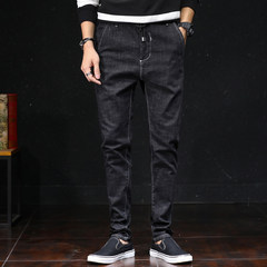 Black Haren jeans, men's nine point pants, autumn and winter stretch, big size, loose trend, cashmere, little feet, long pants, men Thirty-eight Black trousers