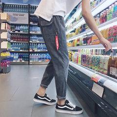 2017 autumn corduroy, casual nine point pants, Korean style, men's loose trend, small sport pants, Haren's long pants M Dark grey