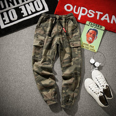 In the autumn of 2017 new loose jeans men size camouflage sport pants overalls Metrosexual Korean Students 3XL Army green