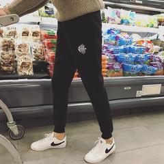 2017 new autumn plus Plush casual pants, men's Korean embroidery, sports feet pants, self-cultivation pants trend M black