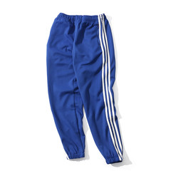 Autumn and winter streets of Europe and the United States three bar men and women sports lovers leisure stretch pants pants pants feet sweat pants size 3XL Blue and white have T-shirts gift