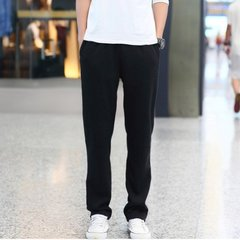 Winter sports pants, men's long pants, pure cotton casual pants, straight cylinder knitted pants, large size running pants in winter 3XL Black (summer style)