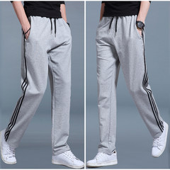 In autumn and winter, men wear pants, men wear pants, loose and fat, XL, casual pants and trousers 3XL Gray black stripes autumn