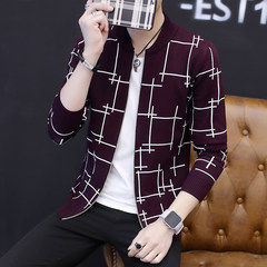 Knitting cardigan coat male age 2017 new trend of men's jacket sweater Mao Yinan slim. 3XL WE9311 deep wine red