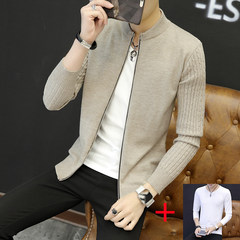 2017 men fall coat sweater knit cardigan new trend of Korean men's slim long sleeved spring jacket 180/2XL We9319 Beige