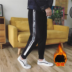 Autumn and winter Levis feet Harem Pants Plus velvet casual pants Mens youth sports pants Zichao nine students 3XL Black velvet