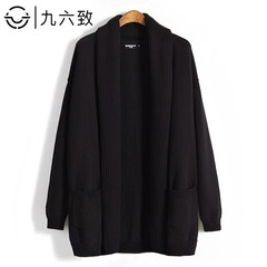 96 men in long sweater sweater cardigan sweater coat autumn Korean loose male big tide code 3XL black