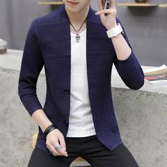 Men's sweater slim V all-match trend of Korean men sweater collar cardigan wearing long sleeved and handsome 3XL Tibet Navy