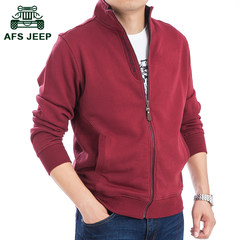 Autumn and winter men's battlefield Jeep sweater cardigan collar coat color male Leisure Sport Coat Size Mens M Jujube red