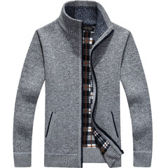 Special offer every day in winter wear thick warm sweater sweater male collar CARDIGAN SWEATER MENS sweater coat 3XL 1383 gray