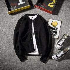 @ two more original autumn leisure sweater men sweater all-match sleeve knit cardigan coat Mens Korean tide M black