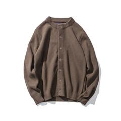 Autumn and winter of 2017 new men's cardigan coat young Korean slim Metrosexual thin sweater round neck sweater 3XL Deep khaki color