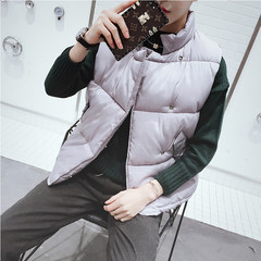 """The couple down cotton vest men and young men and women all-match short thick bread coat Korean tide """"Priority for collection and purchase"""" gray"""